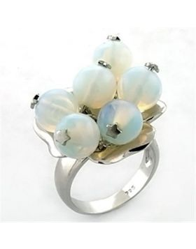 Ring 925 Sterling Silver Rhodium Synthetic White Glass Bead