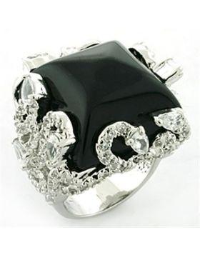 Ring Brass Rhodium Synthetic Jet Onyx