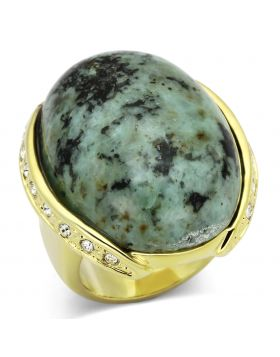 Ring Brass Gold Semi-Precious Sea Blue Turquoise