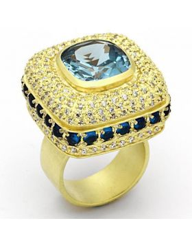 Ring Brass Matte Gold Synthetic London Blue Spinel