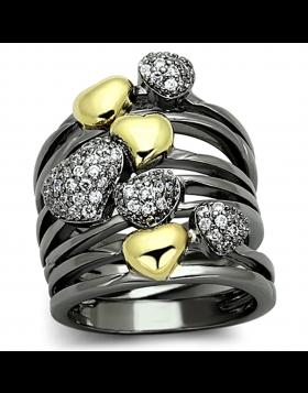 Ring Brass Gold+Ruthenium AAA Grade CZ Clear