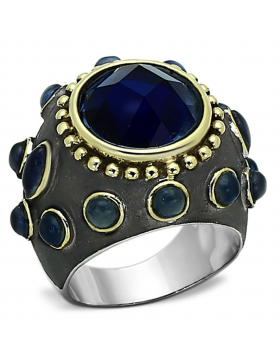 Ring Brass Reverse Two-Tone Synthetic Montana Synthetic Glass