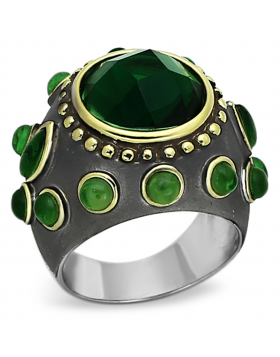 Ring Brass Reverse Two-Tone Synthetic Emerald Synthetic Glass