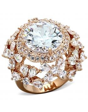 Ring Brass Rose Gold AAA Grade CZ Clear