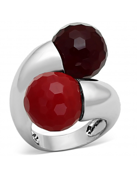 Ring Brass Rhodium Synthetic Multi Color Synthetic Glass