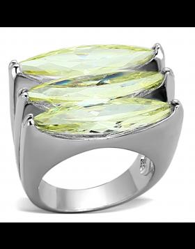 Ring Brass Rhodium AAA Grade CZ Apple Green color