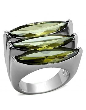 Ring Brass Rhodium AAA Grade CZ Olivine color