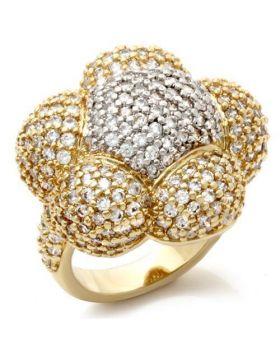 Ring Brass Gold+Rhodium AAA Grade CZ Clear
