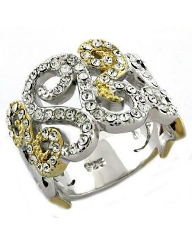 Ring 925 Sterling Silver Gold+Rhodium Top Grade Crystal Clear