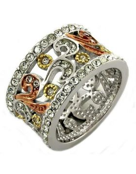 Ring 925 Sterling Silver Rhodium Top Grade Crystal Multi Color