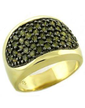 Ring 925 Sterling Silver Gold AAA Grade CZ Peridot
