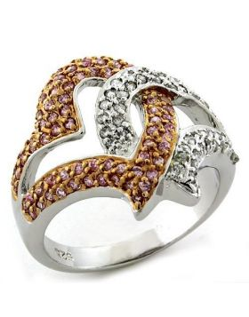 Ring 925 Sterling Silver Rose Gold AAA Grade CZ Rose