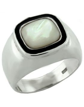 Ring 925 Sterling Silver High-Polished Synthetic White Jade