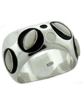 Ring 925 Sterling Silver Rhodium Semi-Precious White Opal