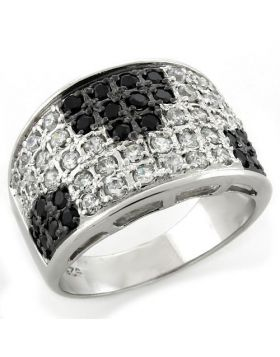 Ring 925 Sterling Silver IP Black(Ion Plating) AAA Grade CZ Jet