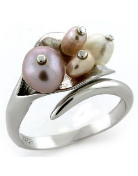 Ring 925 Sterling Silver Rhodium Synthetic Multi Color Pearl