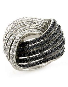 Ring 925 Sterling Silver Rhodium + Ruthenium AAA Grade CZ Multi Color