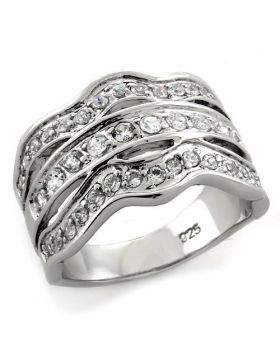 Ring 925 Sterling Silver Rhodium Top Grade Crystal Clear