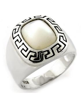 Ring 925 Sterling Silver High-Polished Precious Stone White Conch