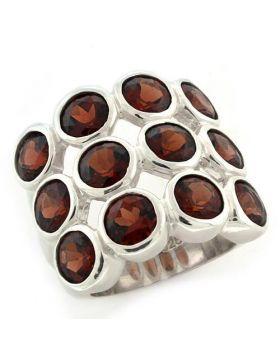 Ring 925 Sterling Silver High-Polished Semi-Precious Garnet Spinel