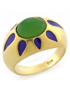 Ring 925 Sterling Silver Matte Gold Synthetic Emerald Jade