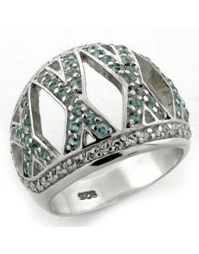 Ring 925 Sterling Silver High-Polished AAA Grade CZ Sea Blue