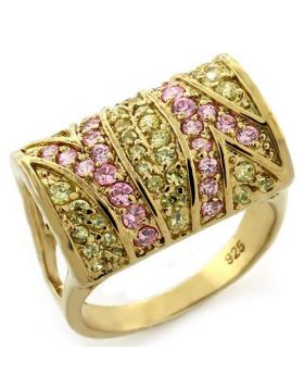 Ring 925 Sterling Silver Gold AAA Grade CZ Multi Color