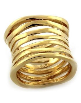 Ring 925 Sterling Silver Gold No Stone No Stone