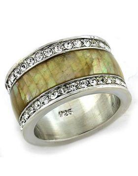 Ring 925 Sterling Silver Rhodium Precious Stone Multi Color Conch