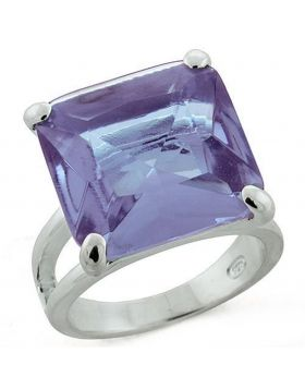 Ring 925 Sterling Silver High-Polished Synthetic Light Amethyst Synthetic Glass