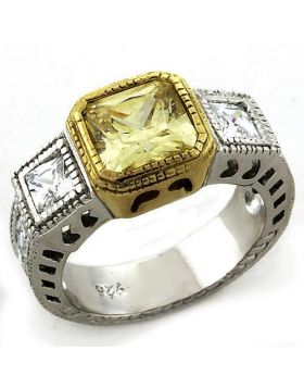 Ring 925 Sterling Silver Gold+Rhodium AAA Grade CZ Citrine