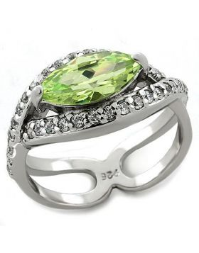 Ring 925 Sterling Silver Rhodium AAA Grade CZ Apple Green color