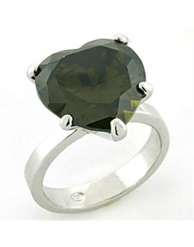Ring 925 Sterling Silver Rhodium AAA Grade CZ Olivine color
