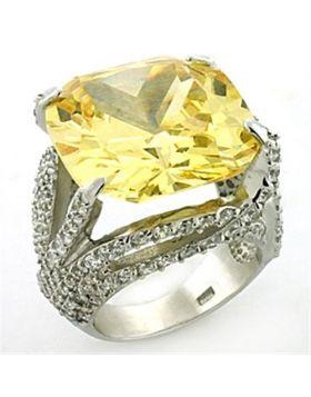 Ring 925 Sterling Silver Rhodium AAA Grade CZ Topaz