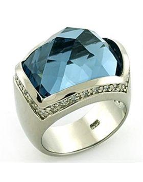Ring 925 Sterling Silver Rhodium Semi-Precious London Blue Spinel