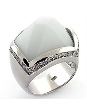 Ring 925 Sterling Silver Rhodium Synthetic White Synthetic Glass