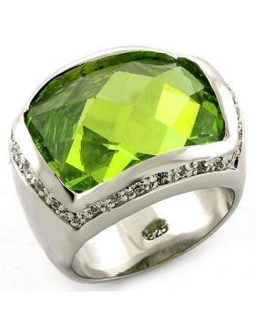 Ring 925 Sterling Silver Rhodium Synthetic Peridot Synthetic Glass