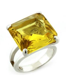 Ring 925 Sterling Silver High-Polished AAA Grade CZ Citrine Square