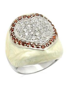 Ring 925 Sterling Silver Rhodium AAA Grade CZ Garnet