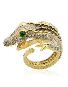 Ring 925 Sterling Silver Rhodium+Gold+ Ruthenium Synthetic Emerald Synthetic Glass