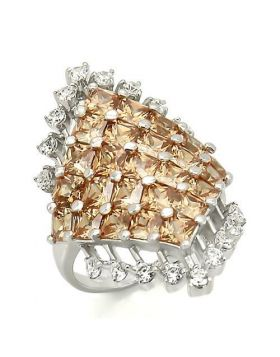 Ring 925 Sterling Silver Rhodium AAA Grade CZ Champagne