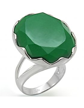 Ring 925 Sterling Silver Silver Synthetic Emerald Jade