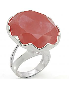 Ring 925 Sterling Silver Silver Synthetic Light Peach Synthetic Glass