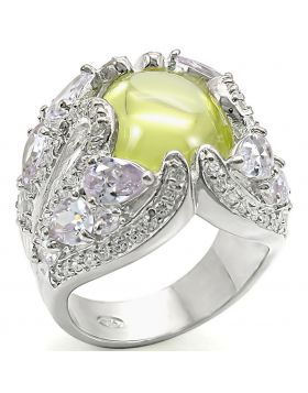 Ring 925 Sterling Silver High-Polished AAA Grade CZ Apple Green color