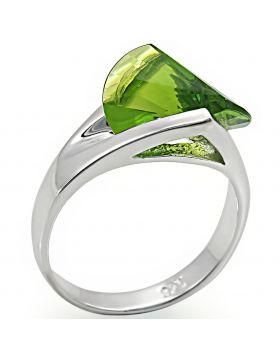 Ring 925 Sterling Silver Rhodium Synthetic Peridot Spinel