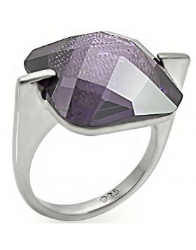Ring 925 Sterling Silver High-Polished AAA Grade CZ Amethyst