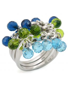 Ring 925 Sterling Silver Rhodium Synthetic Multi Color Synthetic Glass