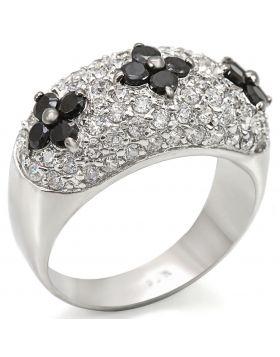 Ring 925 Sterling Silver Rhodium + Ruthenium AAA Grade CZ Black Diamond