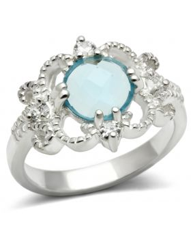 Ring 925 Sterling Silver Silver Synthetic Sea Blue Synthetic Glass