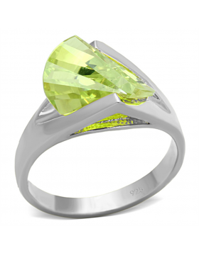 Ring 925 Sterling Silver Silver AAA Grade CZ Apple Green color